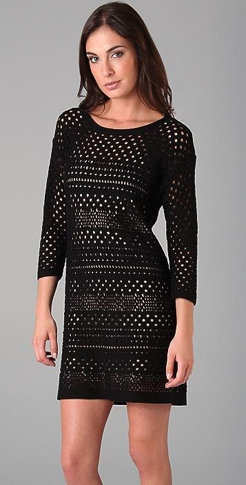 Tibi Crochet 3/4 Sleeve Dress