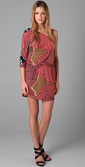 Tibi One Shoulder Print Dress