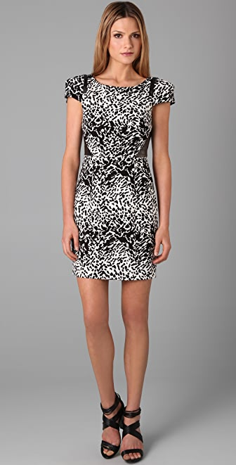 Tibi Cap Sleeve Animal Print Dress