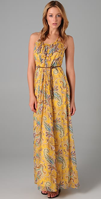 Tibi Paisley Chiffon Long Dress