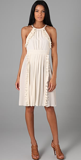 Tibi Halter Ruffle Dress
