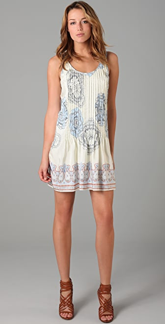 Tibi Teja Print Pintucked Dress