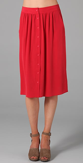 Tibi Midi Skirt with Buttons