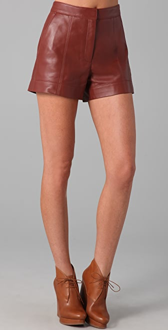 Tibi High Waisted Leather Shorts | SHOPBOP