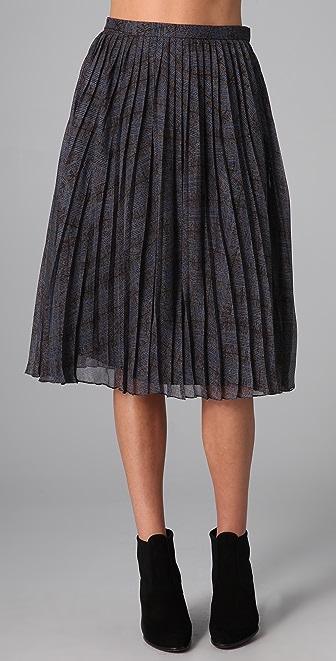 Tibi Glen Plaid Pleated Skirt