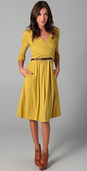 tibi wrap wool jersey dress with belt shopbop