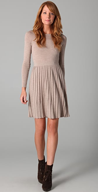 Tibi Pleated Sweater Dress