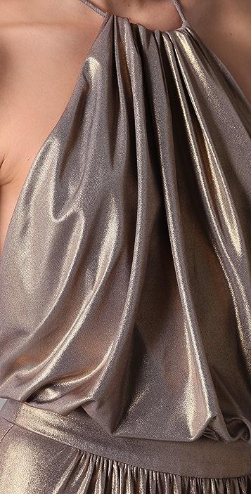 Tibi Metallic Halter Gown