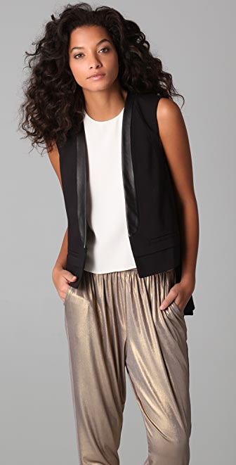 Tibi Vest with Leather Trim