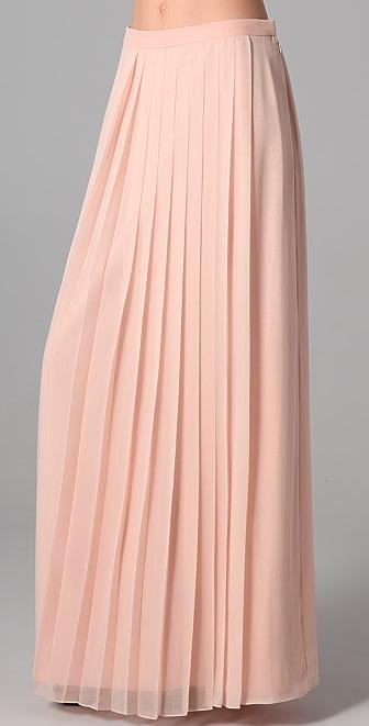Tibi Long Silk Chiffon Pleated Skirt | SHOPBOP