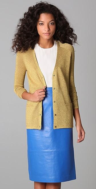 Tibi Metallic Cardigan Sweater