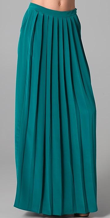Tibi Long Silk Pleated Skirt