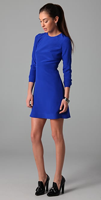 Tibi Long Sleeve Dress with Cutout Back
