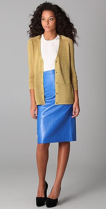 Tibi Leather Pencil Skirt
