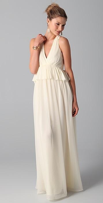 Tibi Long V Neck Dress