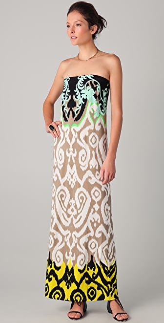 Tibi Jasmine Printed Strapless Maxi Dress | SHOPBOP
