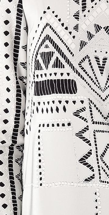 Tibi Print Eyelet Shift Dress