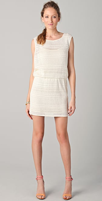 Tibi Patchwork Open Knit Sleeveless Dress