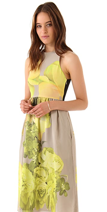 Tibi Jewel Orchid Crossback Midi Dress