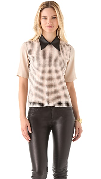 Tibi Lace Contrast Collar Top