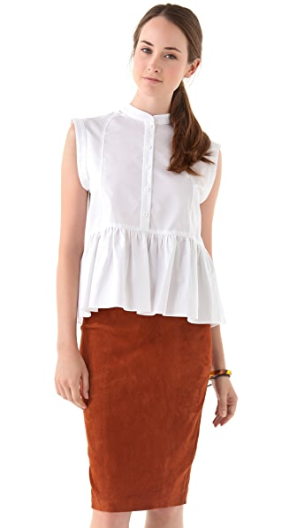 Tibi Peplum Button Down Top