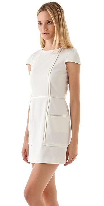Tibi Ponte Cap Sleeve Dress
