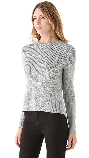 Tibi Metallic Cross Back Sweater