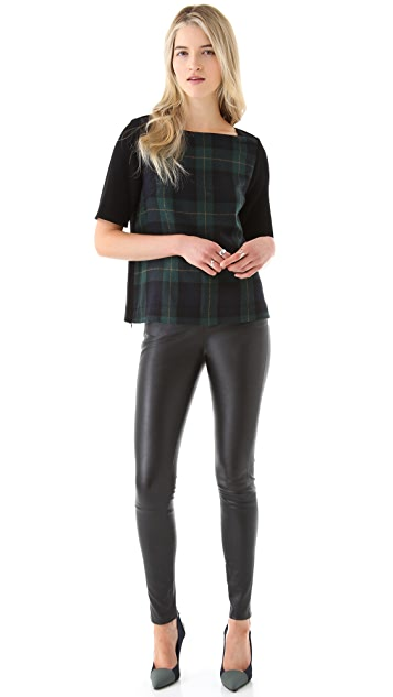 Tibi Plaid Cap Sleeve Top