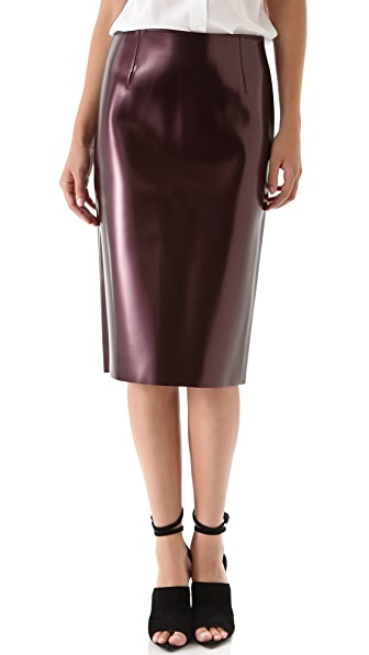 Tibi Vinyl Pencil Skirt