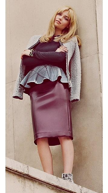 Tibi Vinyl Pencil Skirt