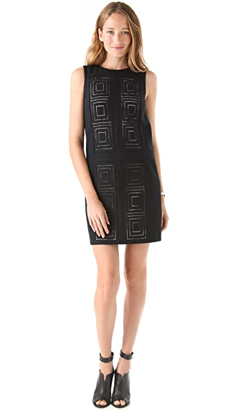 Tibi Felted Wool Eyelet Dress