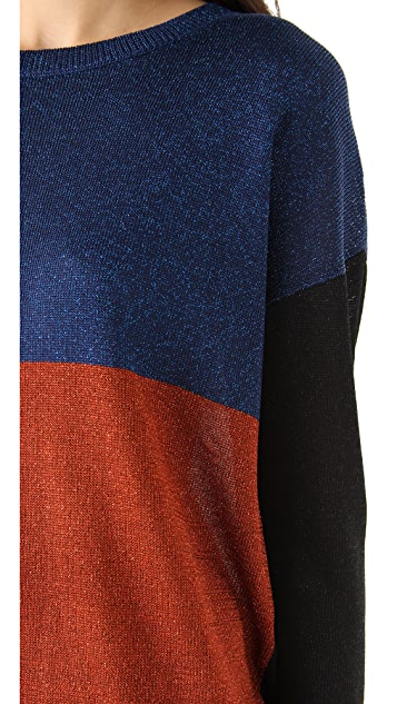 Tibi Colorblock Lurex Sweater