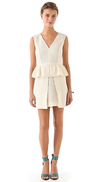 Tibi Tess Jacquard Peplum Dress