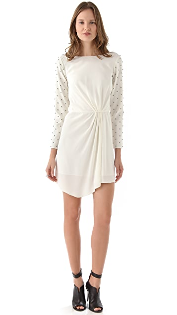 Tibi Draped Dress with Studs