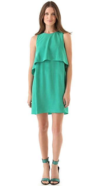 Tibi Mila Back Drape Silk Dress