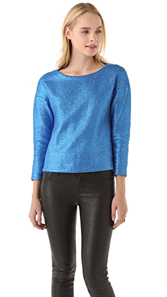 Tibi Coated Jersey Drop Shoulder Top
