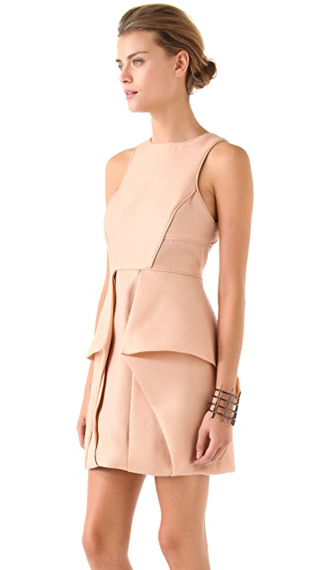 Tibi Simona Jacquard Open Back Dress