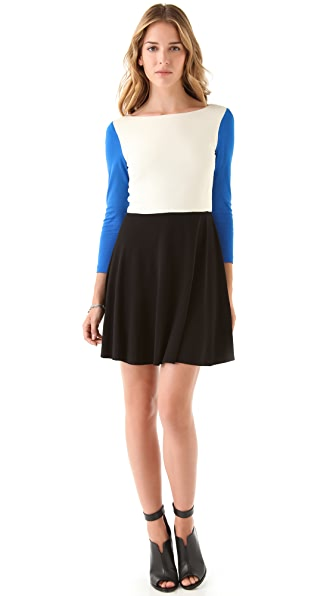 Tibi 3/4 Sleeve Colorblock Dress