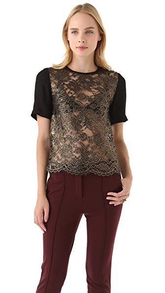 Tibi Foil Lace Top