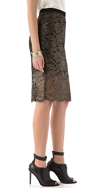 Tibi Foil Lace Pencil Skirt