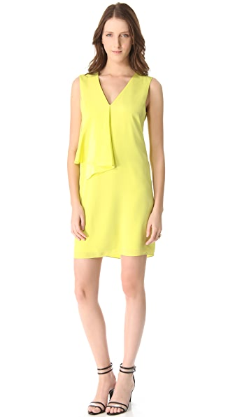 Tibi V Neck Draped Dress