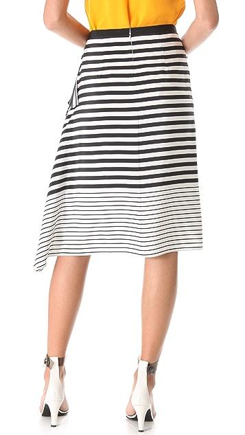 Tibi Claire Stripe Draped Skirt