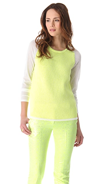 Tibi Easy Sweater with Gauze Sleeves