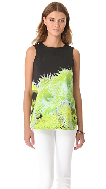 Tibi Sleeveless Silk Linen Top