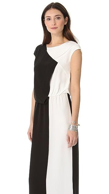Tibi Long Colorblock Gown