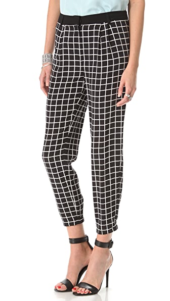 Tibi Windowpane Pleated Pants