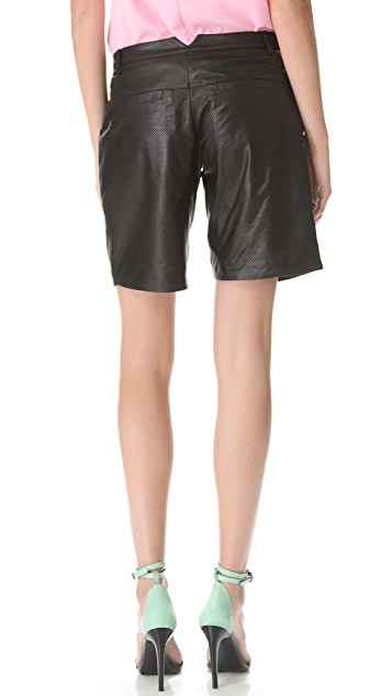 Tibi Leather Pleated Shorts