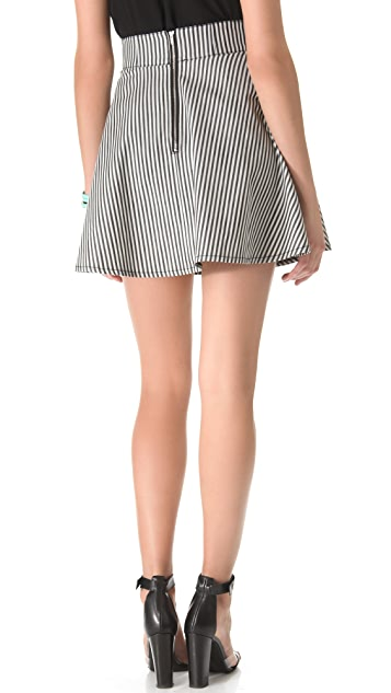 Tibi Striped Denim Paneled Skirt