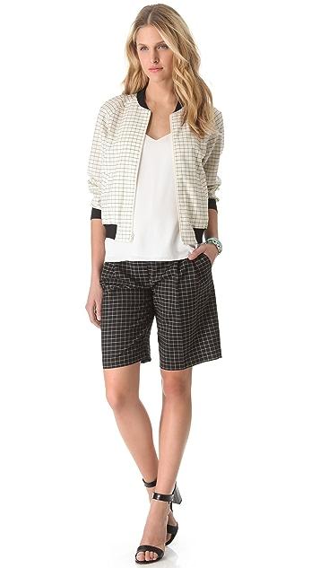 Tibi Tatersol Pleated Shorts