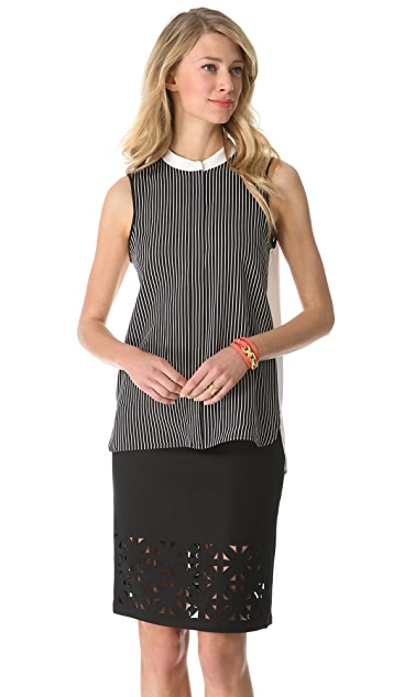 Tibi Stripe Sleeveless Blouse